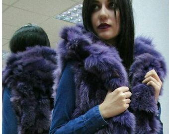 New!Natural Real Fox Fur Hooded vest in medium PURPLE color!