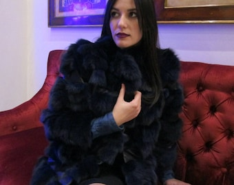 Into the blue!Part 1- New,Natural, Real Modern Blue Fox Fur jacket!