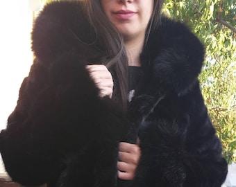 NEW!Natural Real Hooded Mink Fur Coat