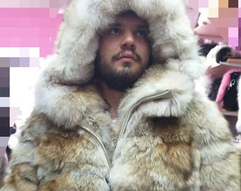cc0e5b5a21 MEN S NEW!!! Real Natural Hooded COYOTE Fur Coat!
