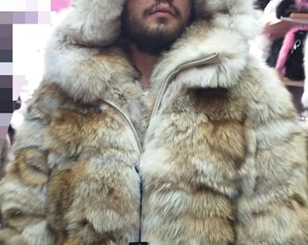 88ab9ee1300 Real Natural Hooded COYOTE Fur Coat!