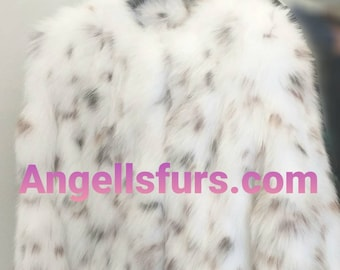 WHITE FLUFFYNESS! New Natural Real Animal print White Fox Fur Coat!Order Any color!
