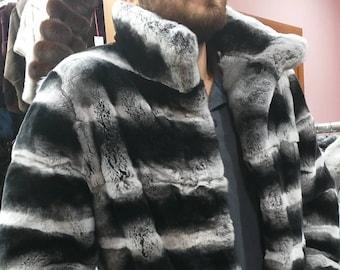 MEN'S New!Real Natural REX fur in chinchilla color Coat!