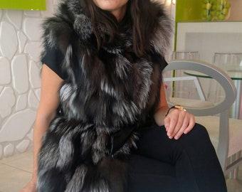 NEW! Natural Real HOODED Dark Silver Fox Fur Vest!