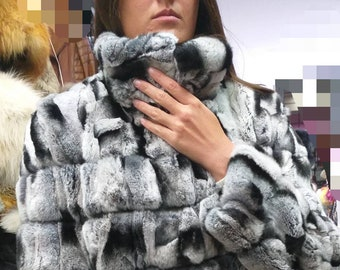 NEW in!Natural Real REX in chinchilla color Fur jacket!