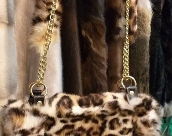 New!Natural,Real Animal print Rabbit Fur Bag!