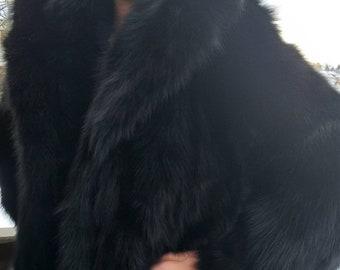 BASIC New in!Natural Real Beautiful BLACK FOX Fur Coat!