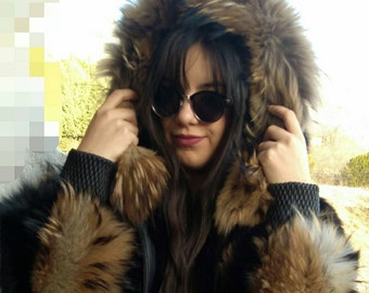 New,Natural Real BLACK FOX Hooded BOMBER jacket with Raccoon collars!
