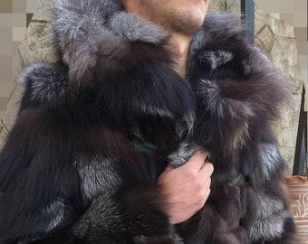 MEN'S New!Real Natural Dark SILVER FOX Hooded Fur Coat!