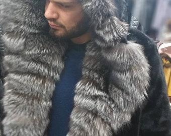 Men'S New Real Natural MINK Fur Jacket with Big SILVER FoX HOOD collar!