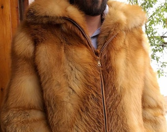 New in! MEN'S NEW FUR! Real Natural High quality Fur coat from Full pelts of natural color Red Fox or Any color Fox you like!