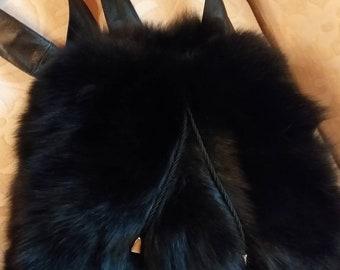 Backpack Bag in BLACK FOX!New and Natural,Real Fur Bag!
