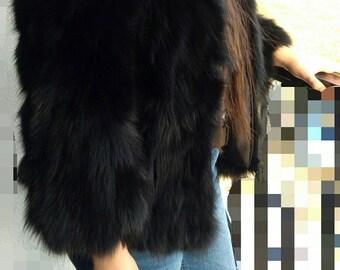BASIC BLACK!New,Natural, Real Modern  Fox Fur Jacket!