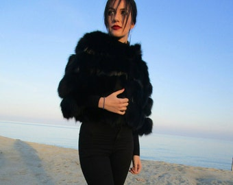 BLACK DREAM!New,Natural, Real Modern model FOX fur Bolero!