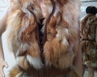 NEW!Natural Real Long Red Fox Fur Vest!