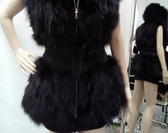NEW! Natural,Real Black Fox Hooded Fur Vest! New model!