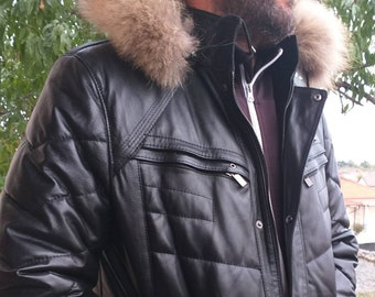MEN'S New Real Natural Winter Black Leather jacket with Detachable hood!