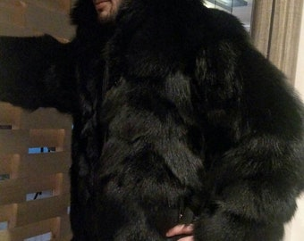 MEN'S BASIC BLACK!New Real Black FoX Fur Hooded Coat!