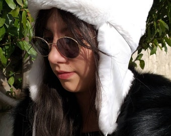 New!Natural,Real White REX Fur trapper HAT!