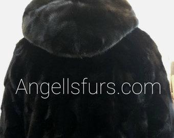 Men'S New REAL MINK Long Hooded BOMBER Coat!