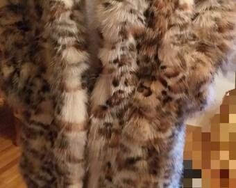 MEN'S New Real Natural Long Animal print FOX Fur COAT!