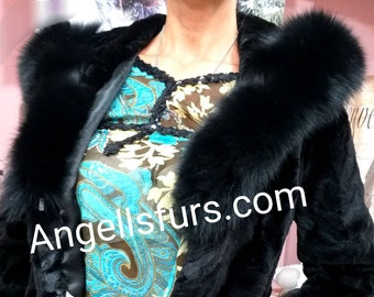 NEW!!!Natural Real Hooded Mink Fur Jacket!
