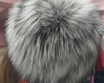 New!Natural,Real fullkin SILVER Fox Fur HAT!!!