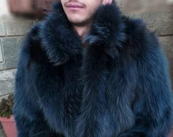 MEN'S New!Real Natural BLUE colored FOX Fur coat!