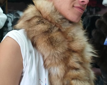 MEN'S New!Natural and Real FOX fur Scarf-Collar! Unisex