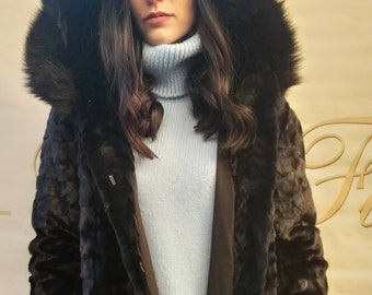NEW!Natural Real Hooded Mink Fur jacket with Black Fox trims!