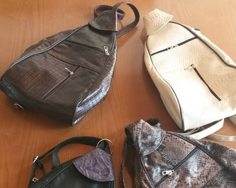 New Natural,Real Black LEATHER backpack Bags!