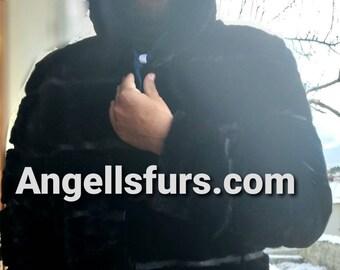 MEN'S NEW fur jacket!Real Natural Black MINK Fur!