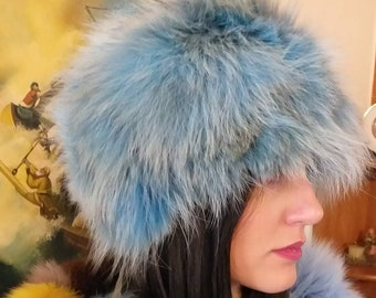 New!Natural,Real Lighter BLUE and natural colors Fox Fur HAT!