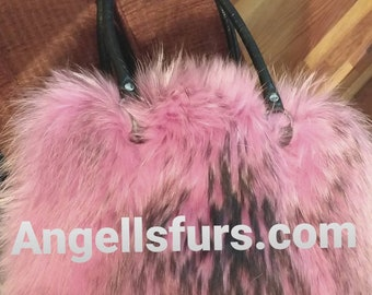 New!Natural,Real Pink FOX Fur Bag