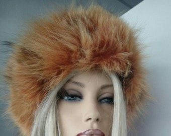 New Natural,Real ORANGE FLUFFY FOX Fur Hat!