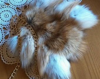 New!Natural,Real Small RED FOX Fur Bag!
