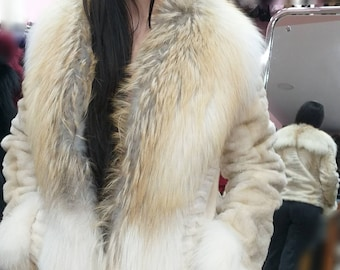 New!Natural Real Superior Quality FULL pelts Sheared Pearl color MINK Fur jacket with Golden FOX!