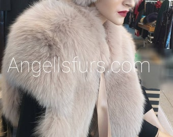 New!Natural Real ONE SIZE Full pelts FOX Fur Bolero!