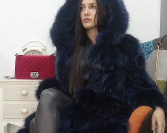 New,Natural Real Beautiful Hooded Long Fox Fur Coat !!!