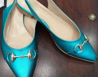 REAL Turquoise LEATHER MULES!