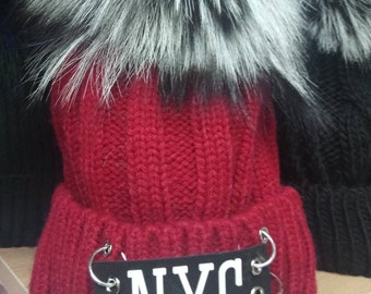 New!Modern Cap  with Real Silver Fox pom!