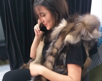 NEW! Natural Real Long Hooded CRYSTAL FOX Fur Vest! New model!