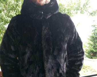 Men'S New Real Natural MINK Fur Jacket with DETACHABLE HOOD!