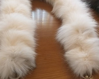 New in! Fluffy BAG STRAPS-belts-scarves from Real Cream color FoX!