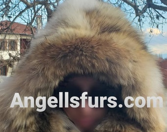 New Natural Real COYOTE FLUFFY Hood! UNISEX!