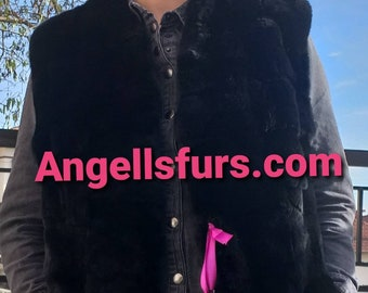 NEW! Natural,Real Long Black Rex fur Vest! Order Any color!