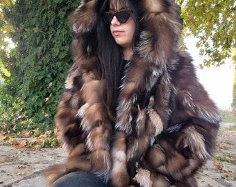 NEW!!!Natural Real Hooded Crystal Fox Fur coat!