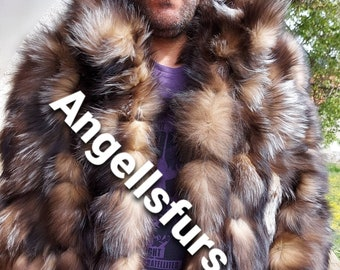 MEN'S CRYSTAL FOX Fur Jacket,Video available!Brand New Real Natural Genuine Fur!