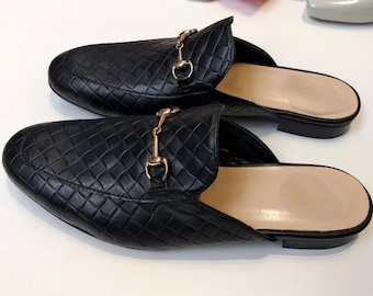 REAL Black LEATHER MULES!