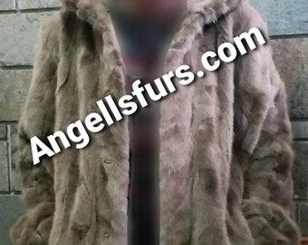 MEN'S NEW!Real Natural Hooded MINK Fur!